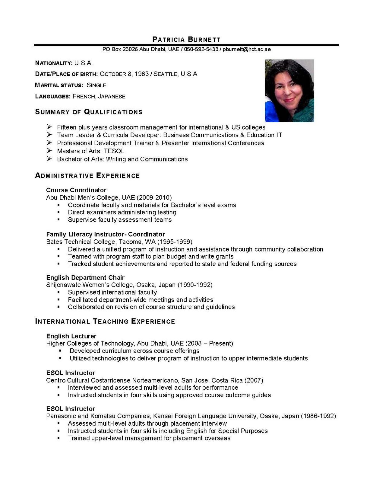 Free Printable Resume Templates International Business International Business Graduate Cv