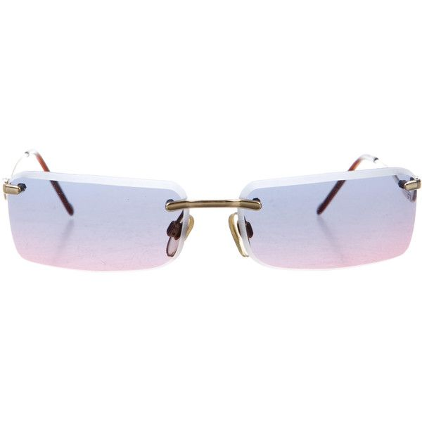 15aca20a69f8 Pre-owned Moschino Tinted Rimless Sunglasses ($95) ❤ liked on Polyvore  featuring accessories, eyewear, sunglasses, glasses, gold, tinted sunglasses,  ...