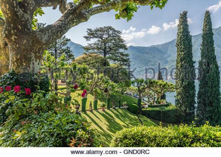 Garden Of Villa Balbianello Lenno At Lake Como Lombardy Italy Garten Der Villa Balbianello In Lenno Lago Di Stock Photo Flower Urn Outdoor Farmland