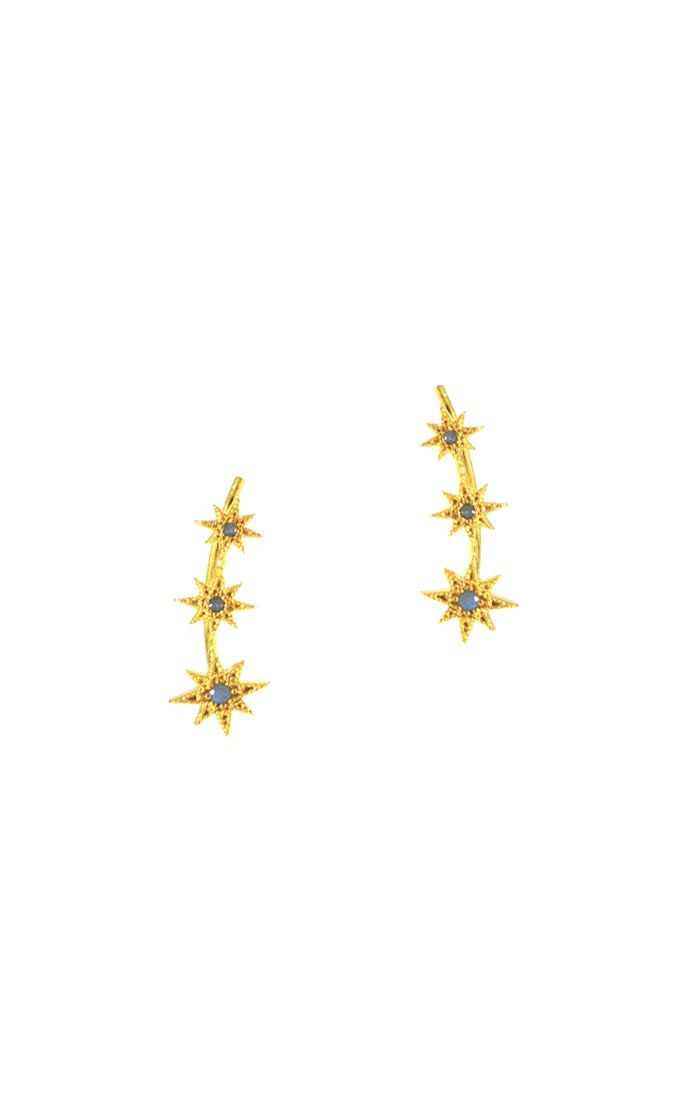 Tai Jewelry Starburst Trio Earrings Gold With Opal