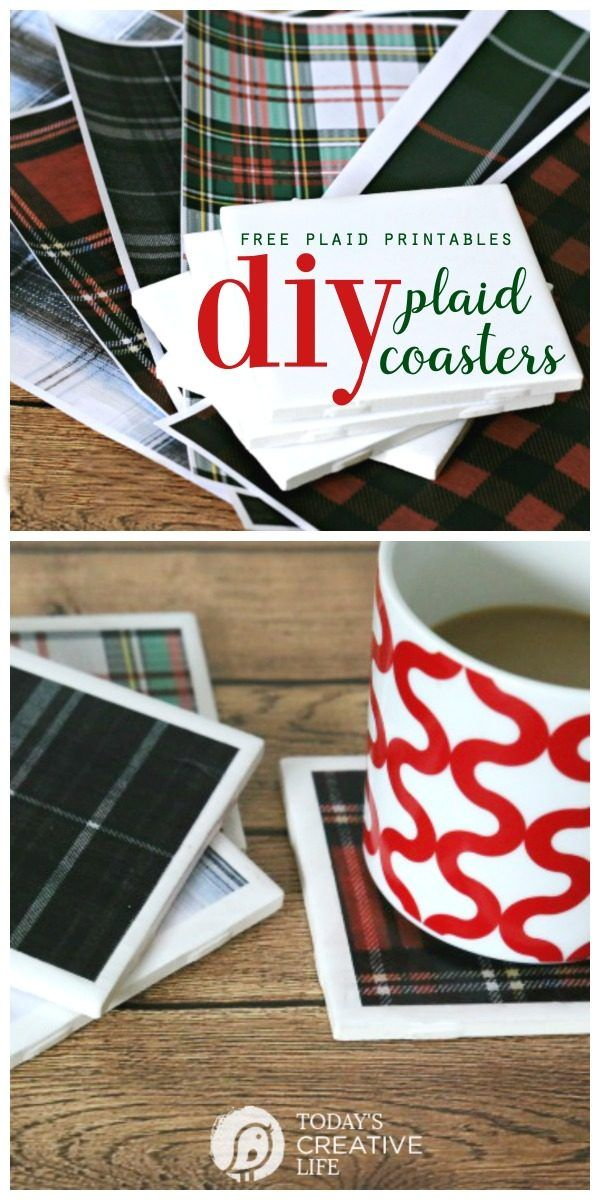 DIY Tile Coasters with Tartan Plaid | Easy Decoupage Craft Ideas with printable plaid paper. Homemade gift ideas | TodaysCreativelife.com