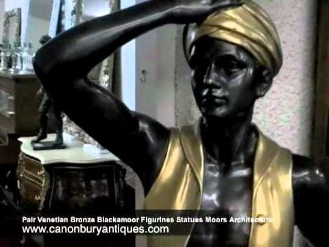 Pair Venetian Bronze Blackamoor Figurines Statues Moors Architectural    http://canonburyantiques.com/pages/subcat_page.php?titlecat=BRONZES==BLACKAMOORS
