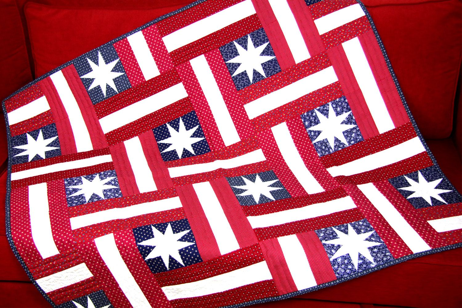 American Quilt, USA Quilt Patchwork, American Blanket, USA Blanket, Red White Blue, Tablecloth, Stars and Stripes von SolvejgMayerQuilts auf Etsy