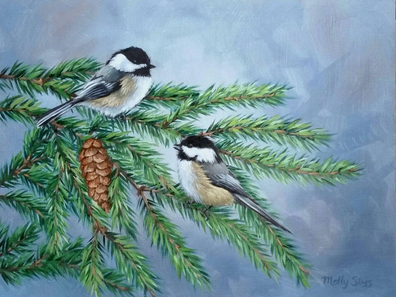 Pair of Chickadees - Chickadee - Bird painting - Black capped chickadee - Open edition print by MollySimsFineArt on Etsy price 15.00+