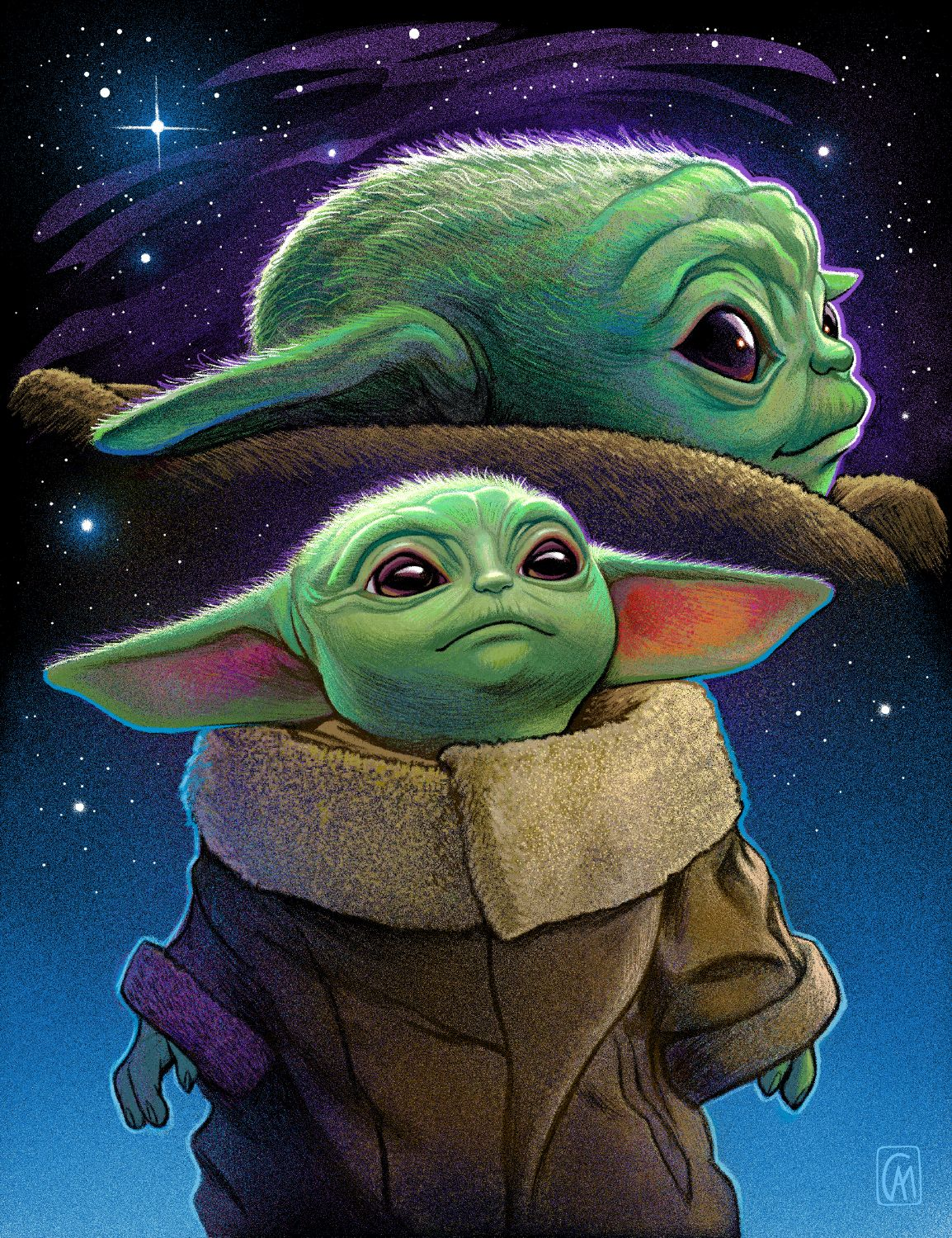Baby Yoda Double Exposure Portrait Giclée 11x14 Star
