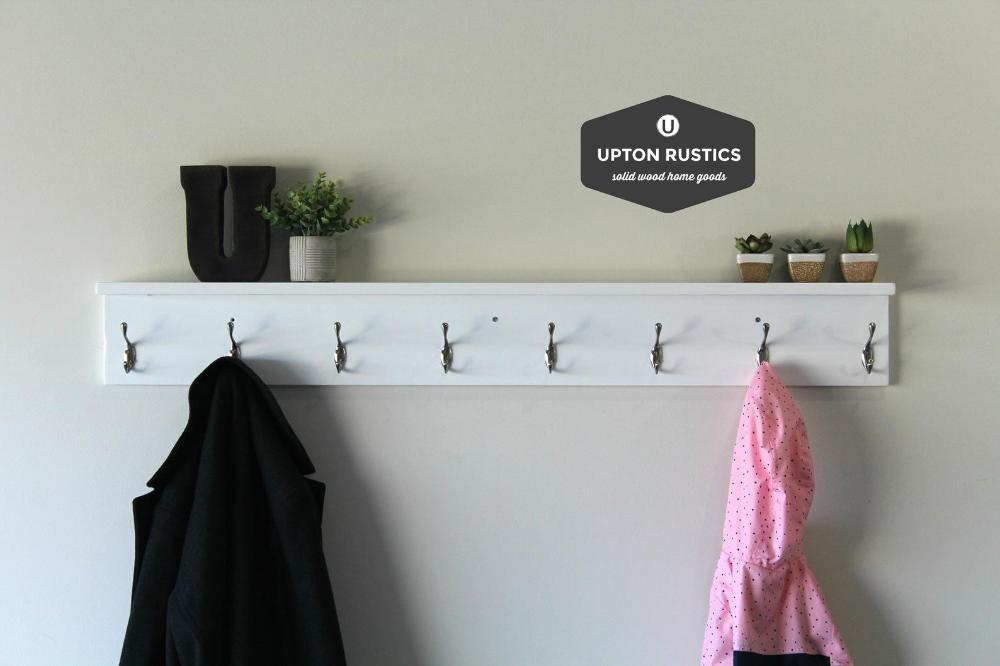 White Towel Rack With Hooks Bathroom With Shelf Wood Towel Etsy Bathroom Rack Bathroom Storage Shelves Towel Hooks