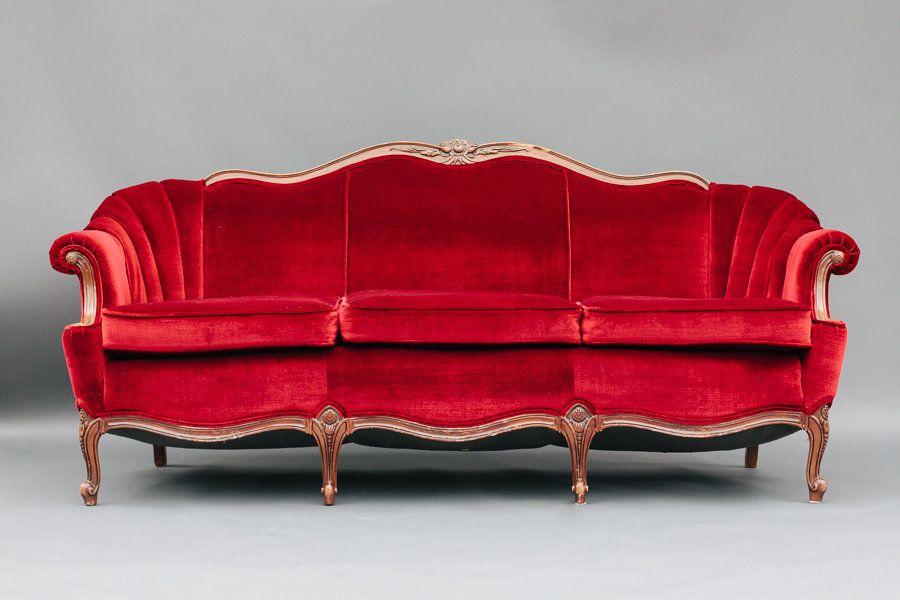 Dogwood Party Rentals Red Velvet Sofa Red Velvet Sofa Vintage Couch Vintage Sofa