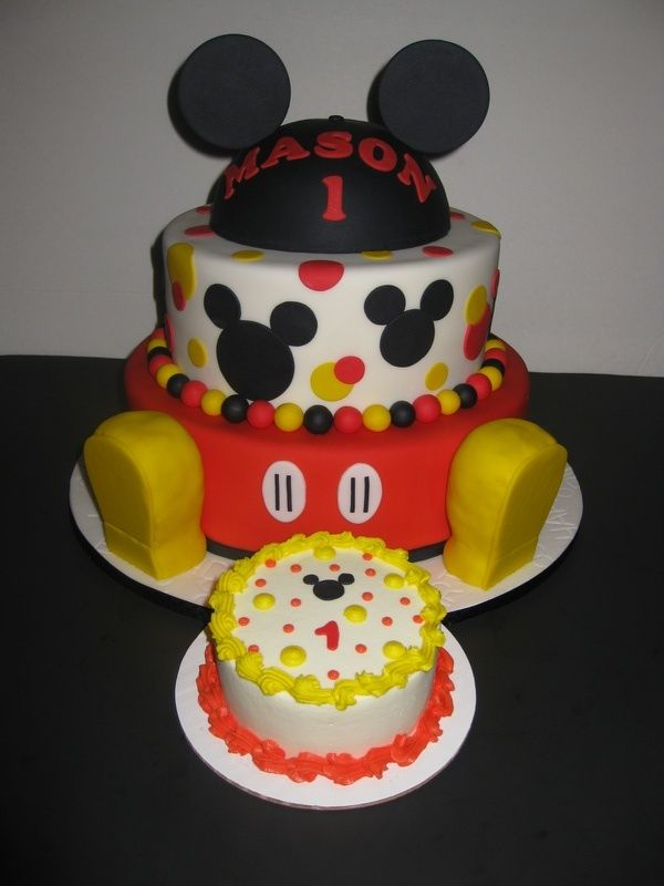 Mickey Mouse 1st birthday Cakes with shoes Masons Mickey Mouse