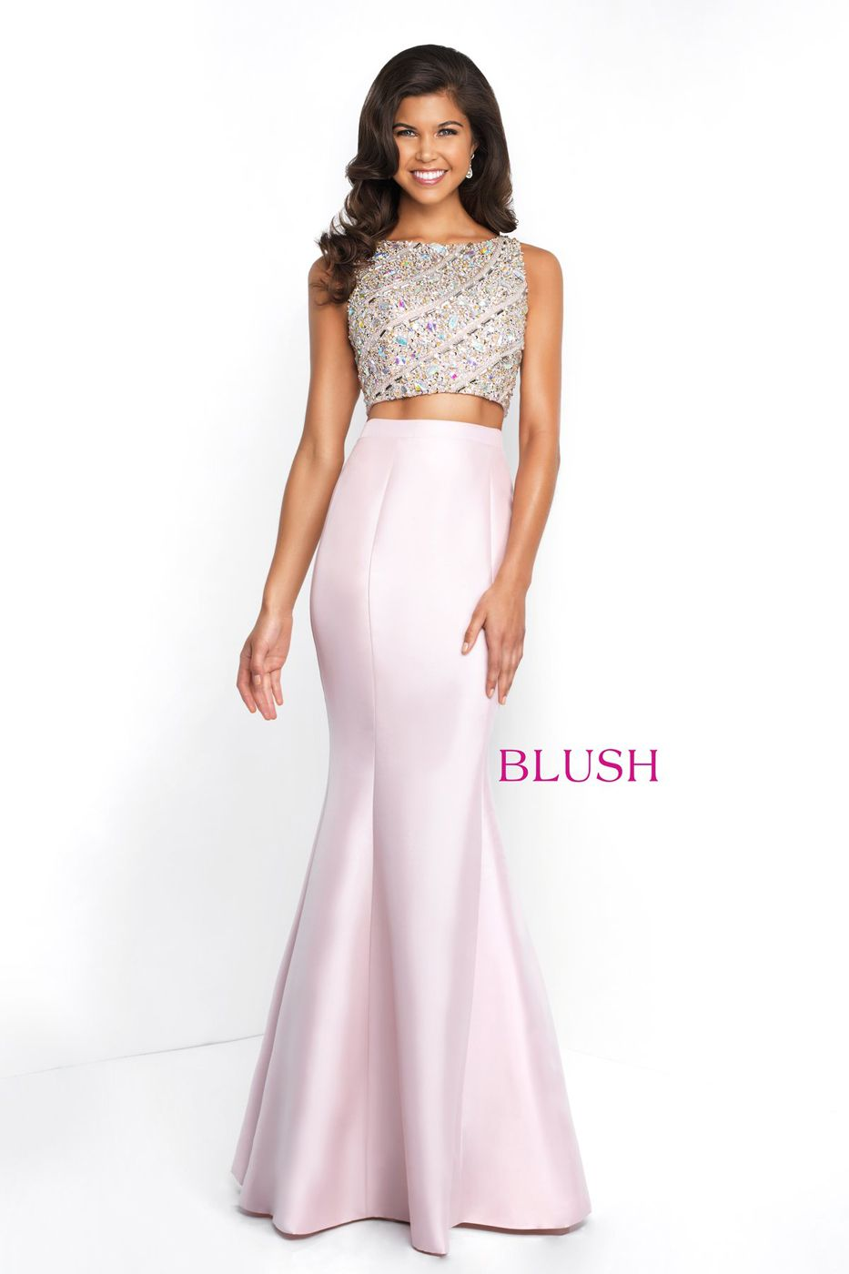 This Blush C1079 Shimmer Mikado Two Piece Prom Dress Pairs A Sleeveless Beaded Croptop With A Bateau Neckline And A Fu Blush Prom Gowns Blush Prom Dress [ 1400 x 933 Pixel ]