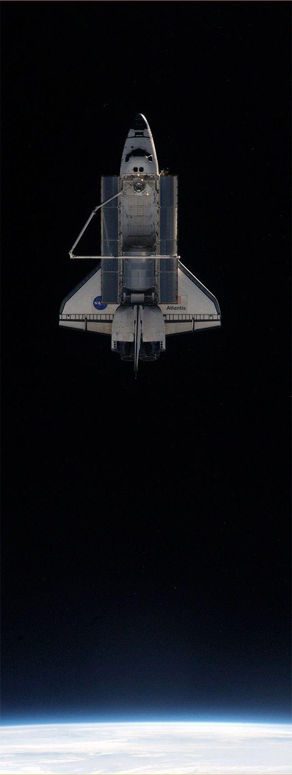 Atlantis in the orbit, cargo bay open.