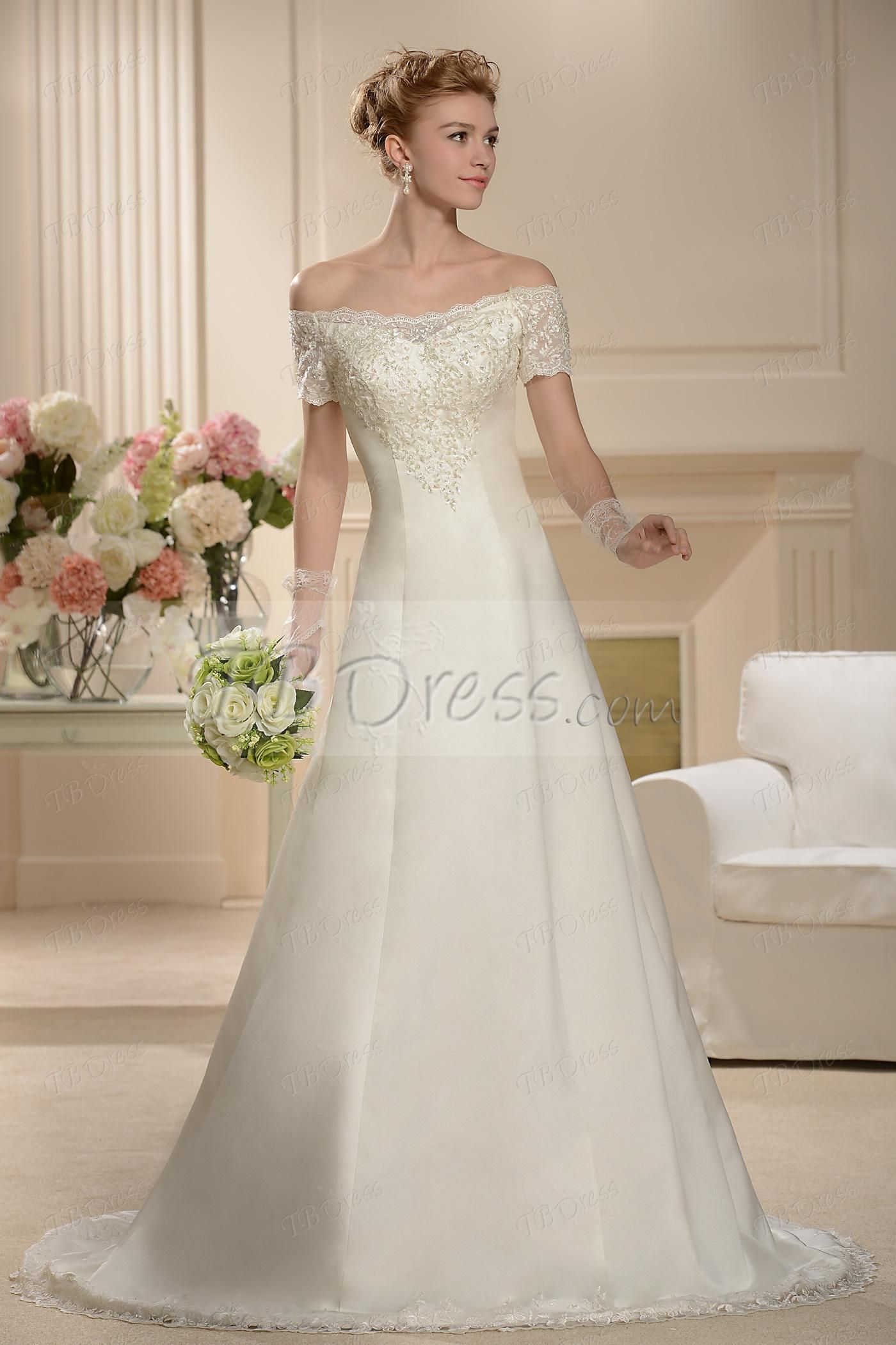 Aline floorlength chapel bateau shortsleeves wedding dress