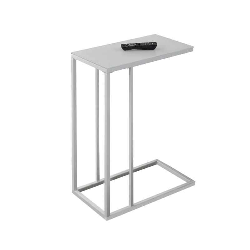 Monarch Specialties I 3037 White 10 Wide Contemporary C Style Side Table Glass Top Accent Table Metal Accent Table Tempered Glass Table Top