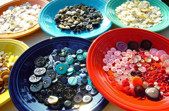Rainbow of Vintage Buttons
