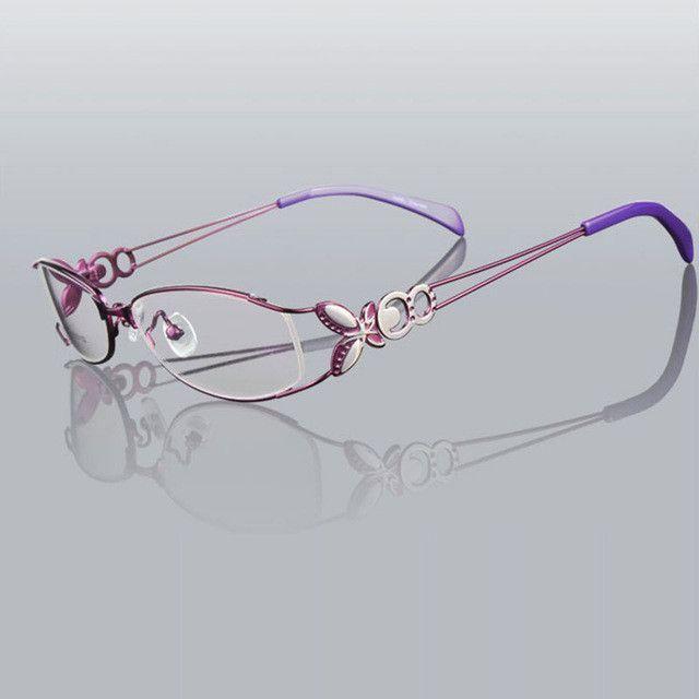 04a072cb661a Butterfly Alloy Elegant Women Glasses Frame Female Vintage Optical Glasses  Plain Eye Box Eyeglasses Frames Myopia Eyewear