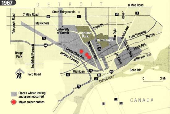 Detroit Race Roit On Harper In Detroit Hall Of Fame - Map of riots in us