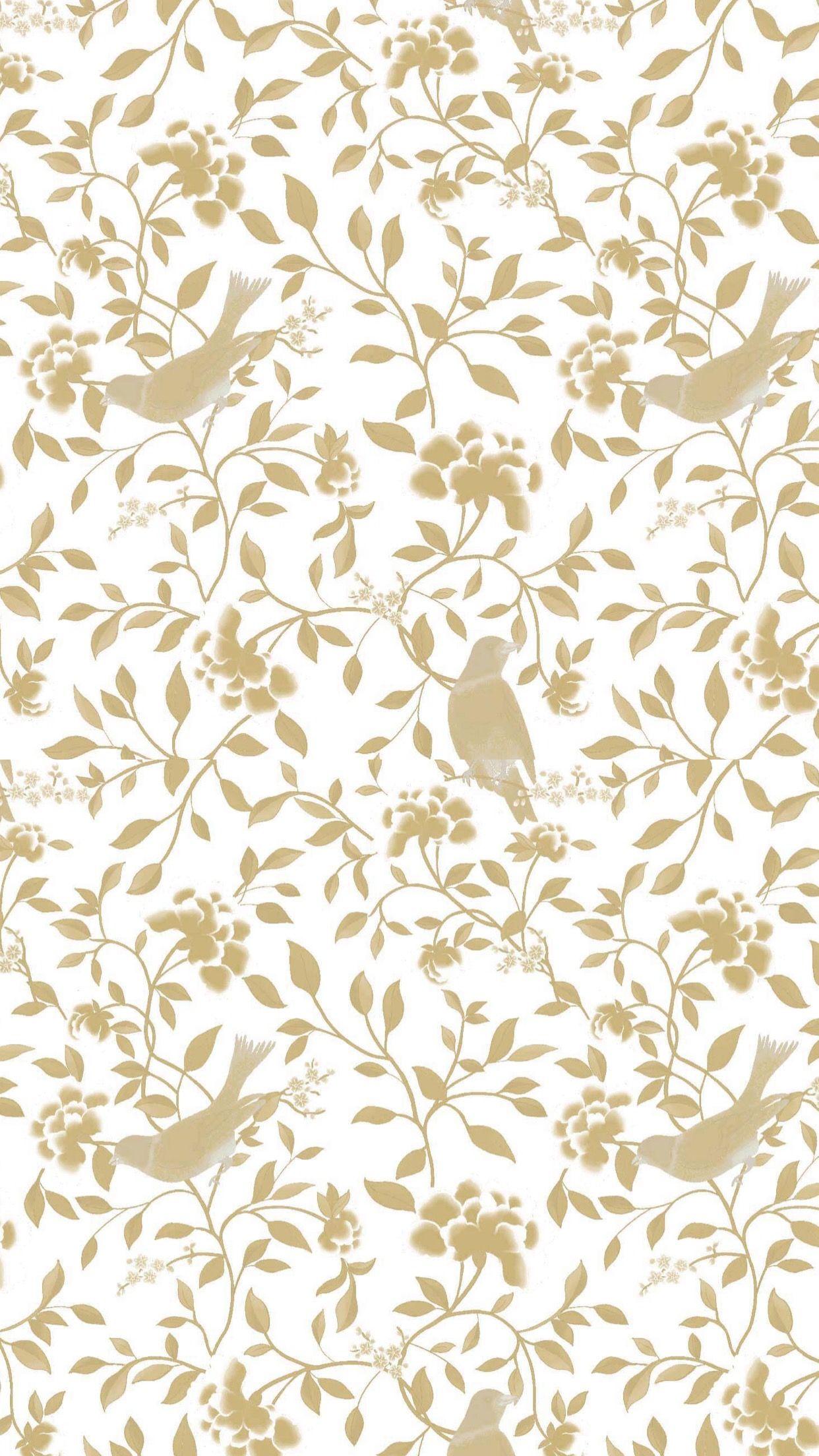 birds leaves white gold Covers & Wallpaper