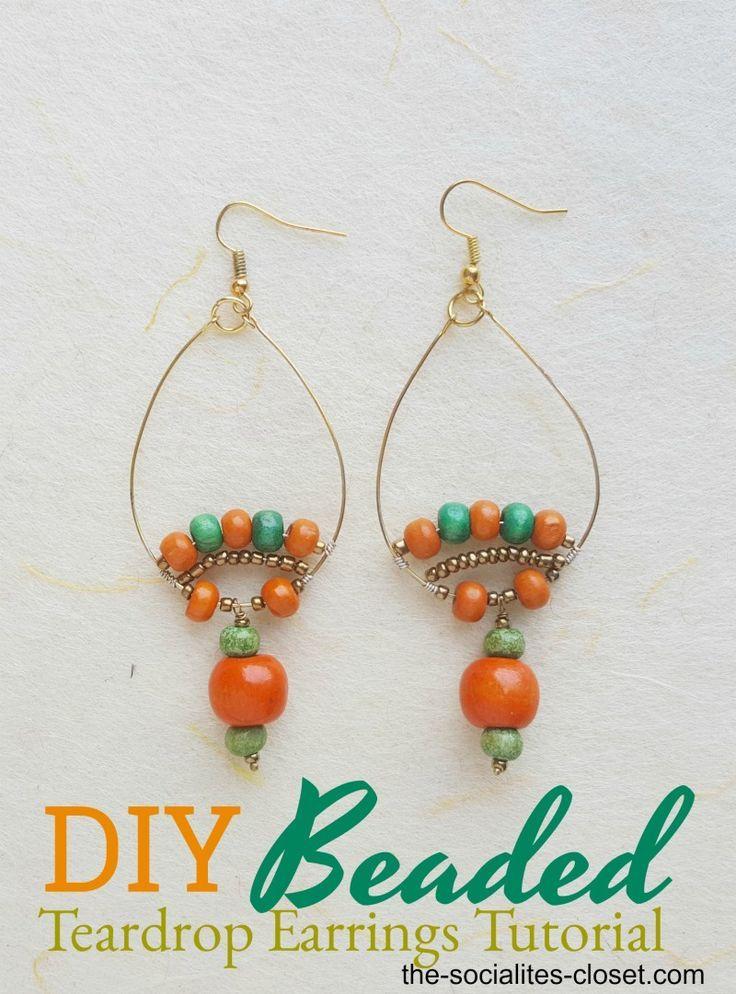 Photo of Handmade Modern Jewelry: Beaded Teardrop Earrings