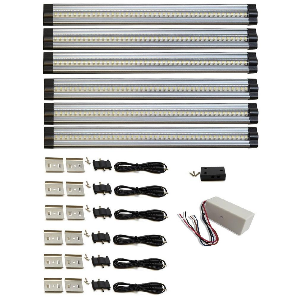 Favorite Monkey 12 In 4000k Neutral White Hard Wired Led 6 Strip Light 6 Piece Kit Snap 6kit Hw The Home Depot Strip Lighting Led Kit Under Cabinet Lighting