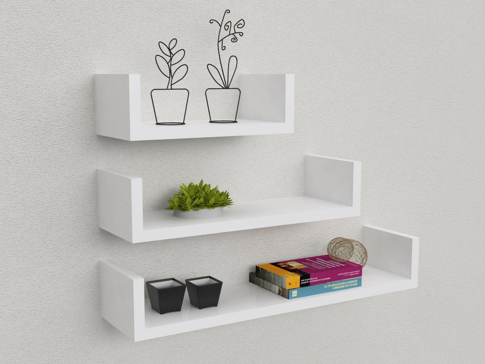 Kit 3 mensole design 30-45-60 cm in mdf, design minimale, semplici ...
