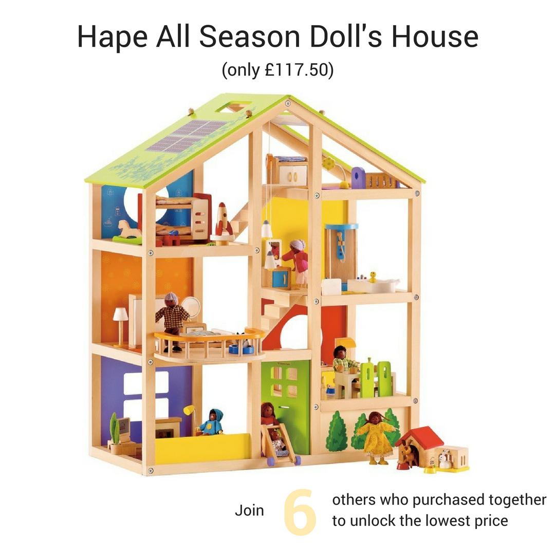 Hape All Season Dolls House Furnished Hape