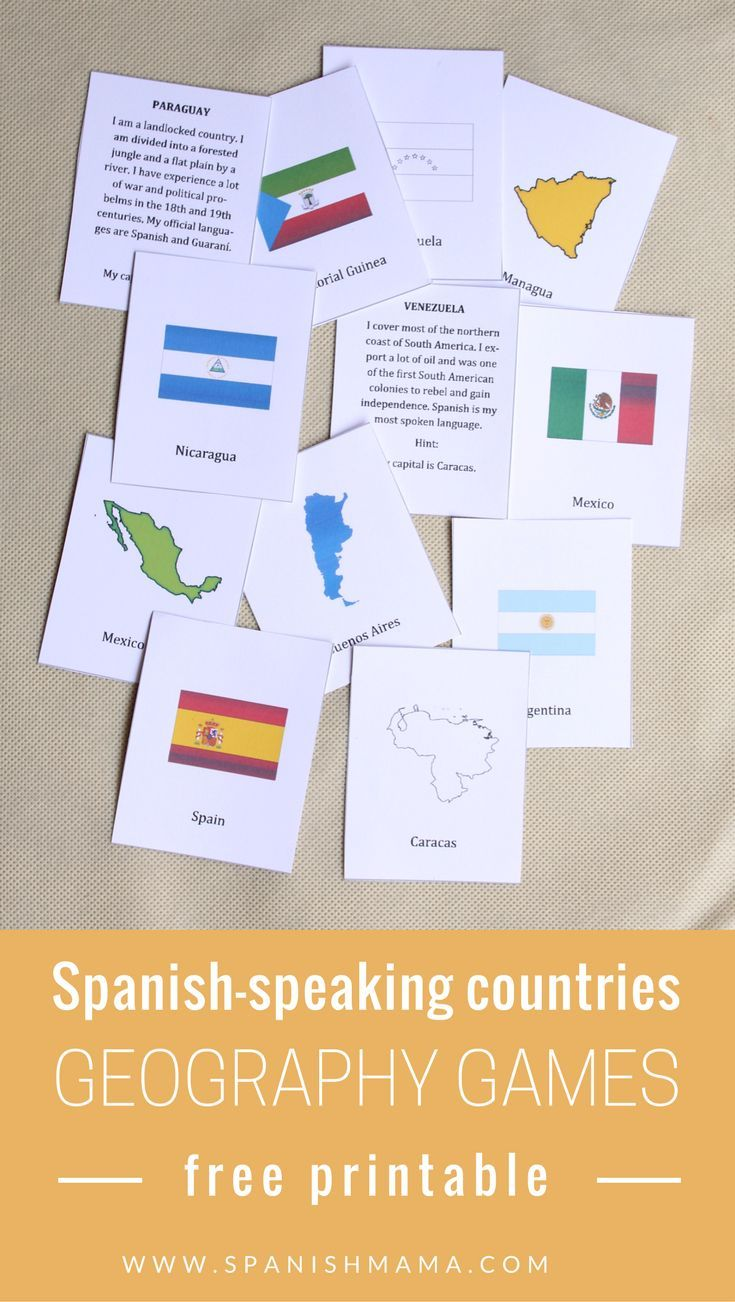 Spanish-Speaking Countries and Capitals Map and Game Cards | Geo ...