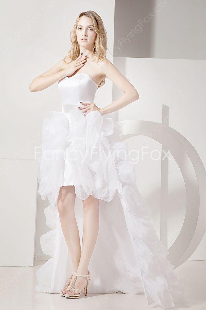 fcdf68d8828 Hawaii White Organza Sweetheart High Low Beach Wedding Dress With Tiered