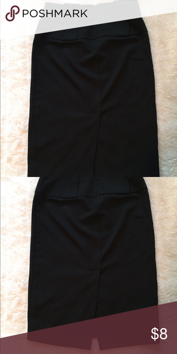Black Pencil Skirt w/Slit in Back Black Pencil Skirt w/Slit in Back and Large Beltlooops Skirts Pencil