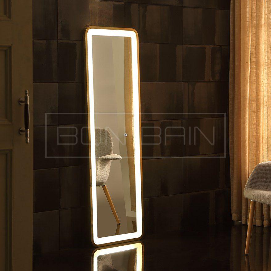 miroir pleine longueur led design haut de gamme touche sensitive et anti bu e defalo salle de. Black Bedroom Furniture Sets. Home Design Ideas