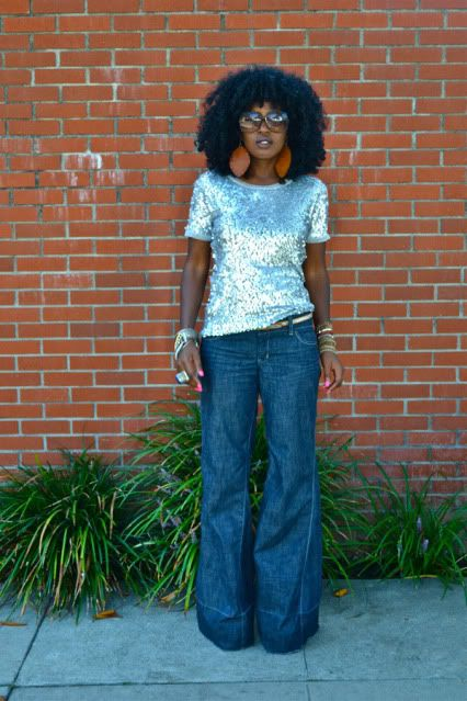 Pin By Briana Hicks On Hairspiration And Makeup Sequin Tshirt Style Bell Bottoms
