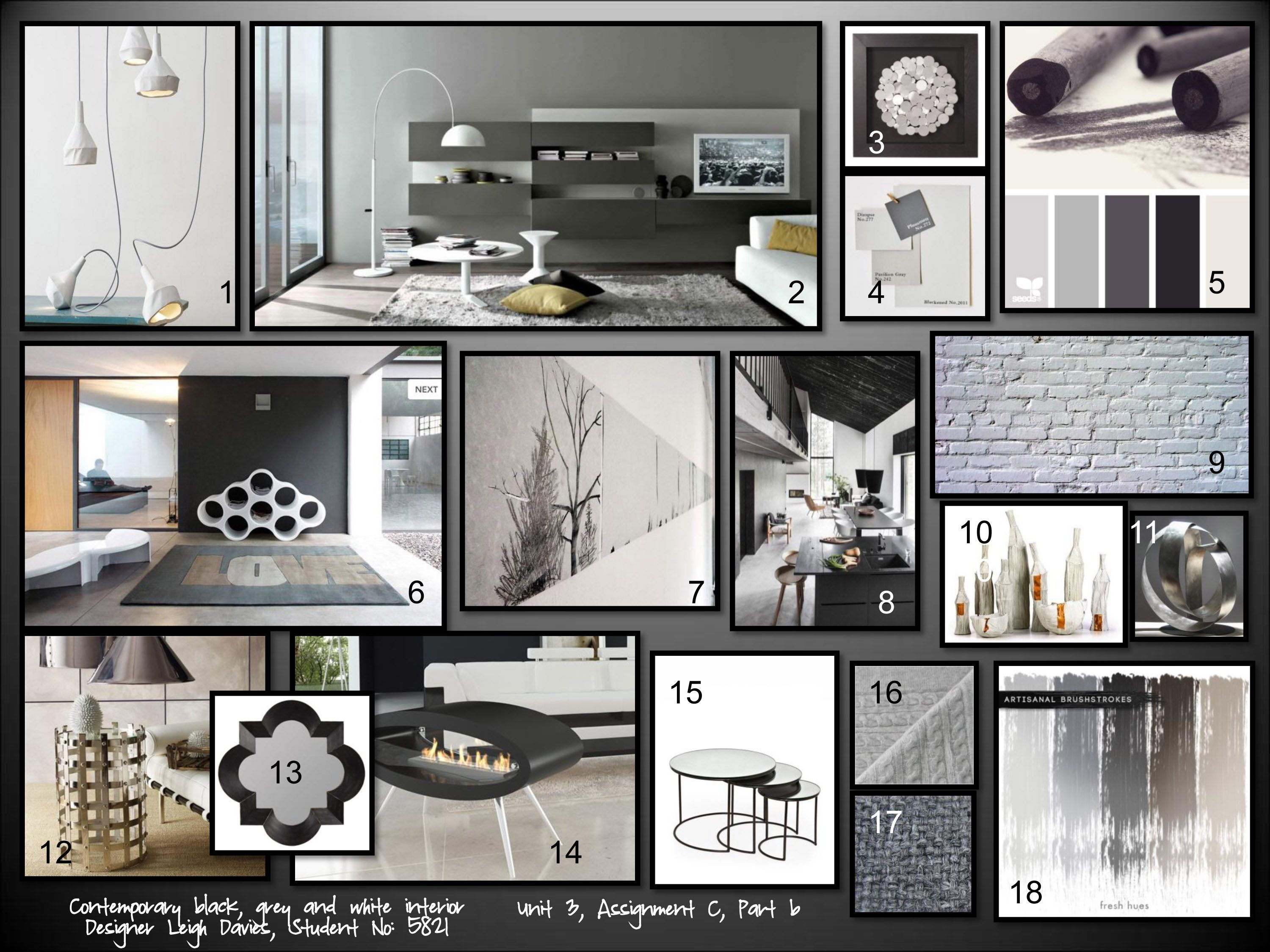Achromatic Contemporary Interior Design Mood Board