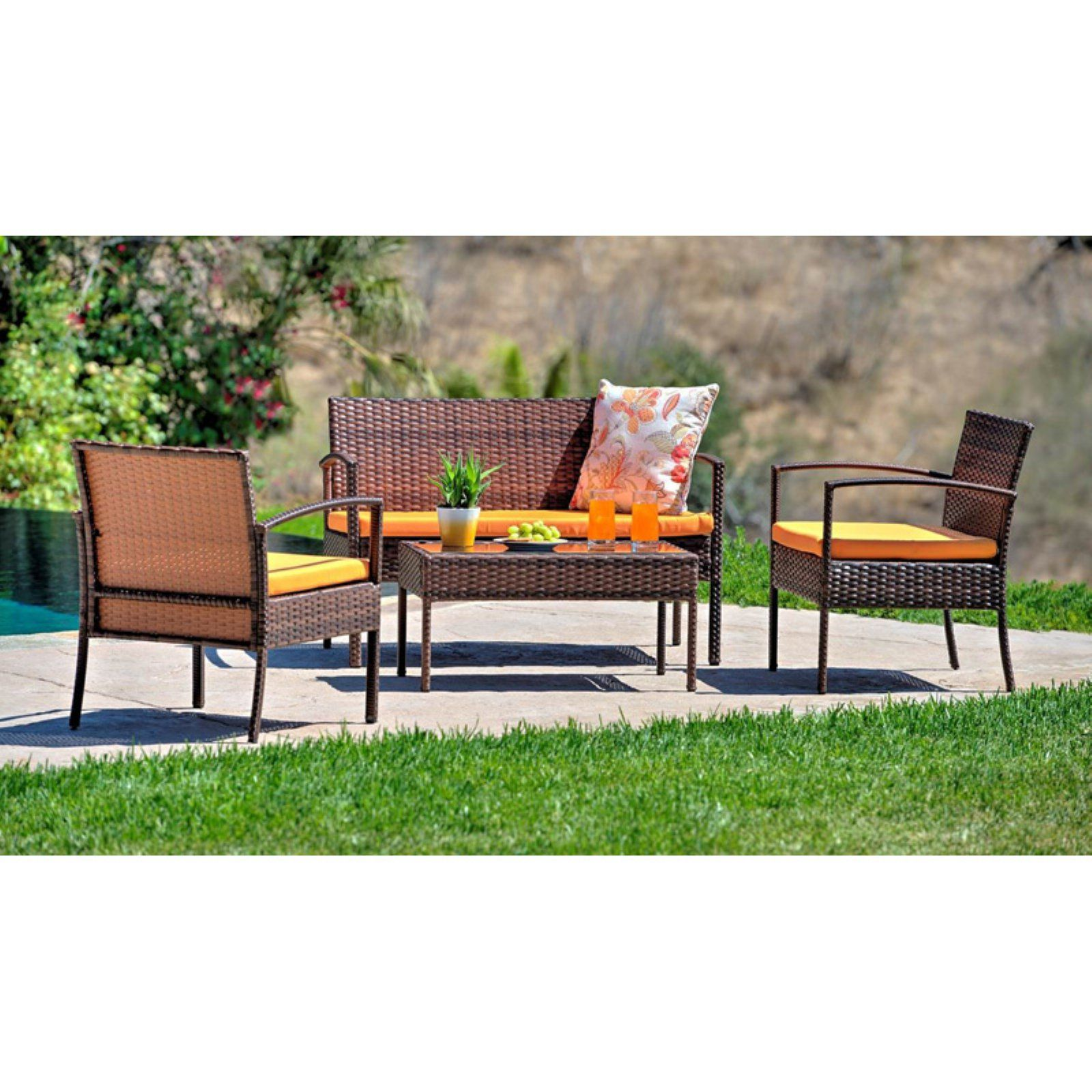 W Unlimited Lucy Collection 4 Piece Patio Outdoor Wicker