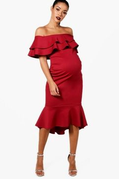 f7118378d54f1 Click here to find out about the Maternity Julie Off The Shoulder Ruffle  Midi Dress from Boohoo, part of our latest Maternity Clothing collection  ready to ...