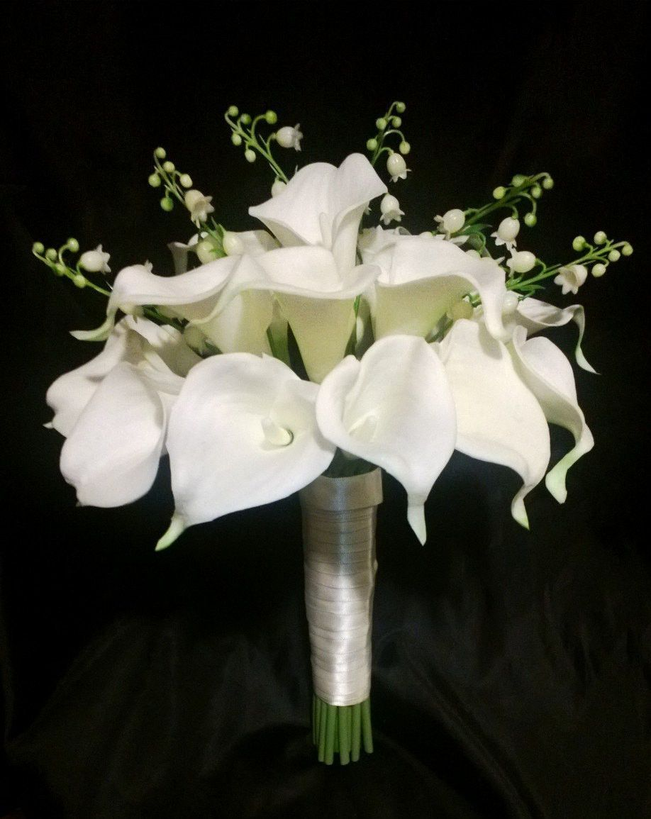 Real Touch Ivory White Calla Lily Of The Valley Wedding Bouquet White Wedding Flowers Ivor Lily Of The Valley Wedding Bouquet Calla Lily Wedding Lily Wedding