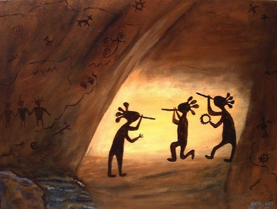 Kokopelli Petroglyphs Cave Art.  This would match my other Kokopelli in my family room