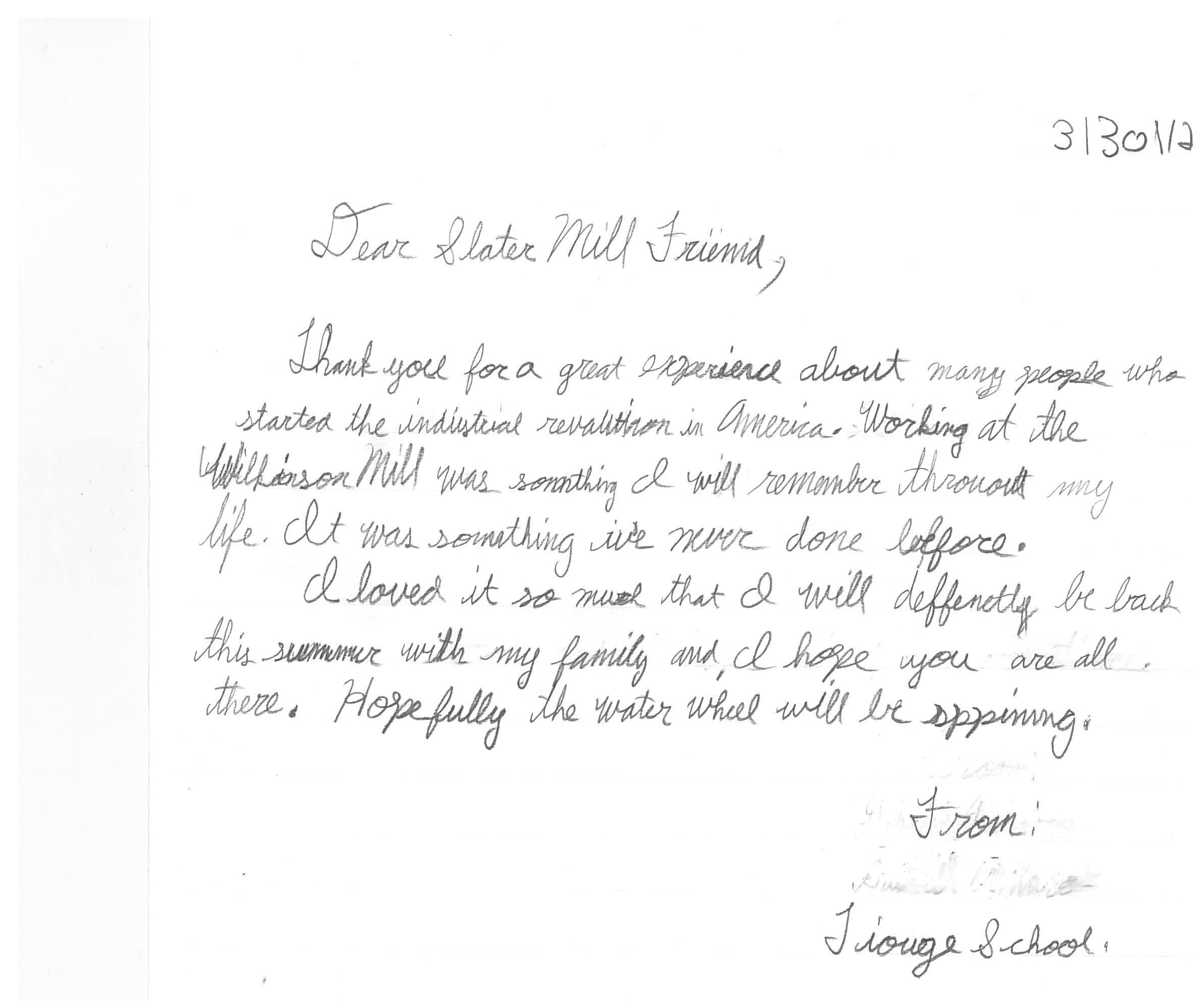 Thank You Note From An Elementary School Student After His Trip To