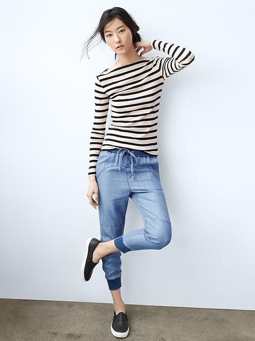 unparalleled performance sportswear modern and elegant in fashion Modern stripe boatneck tee Product Image | jogger pants ...