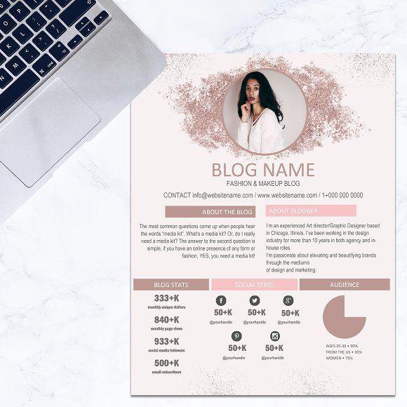 Media kit template - rose gold glitt | Pinterest
