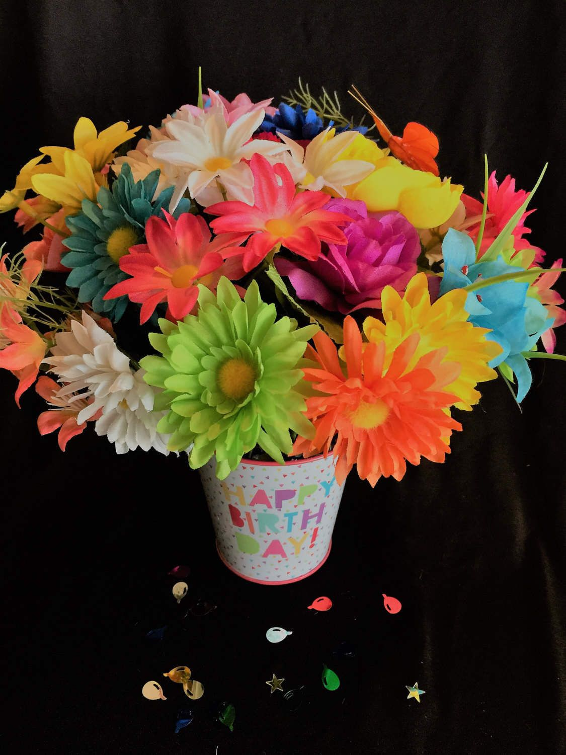 Happy Birthday Colorful Silk Flower Bouquet by MollyMakesMemories on ...