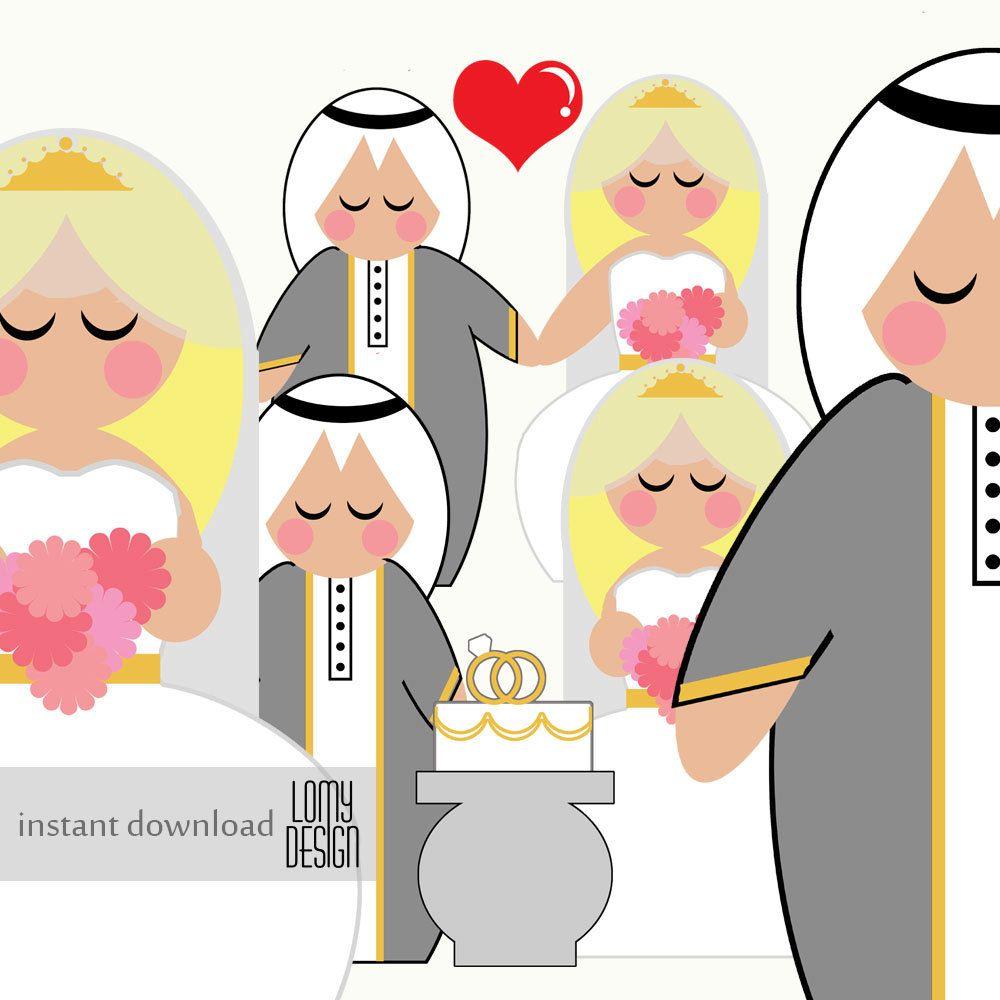 wedding clip art, bride, groom, arab wedding, middle east wedding