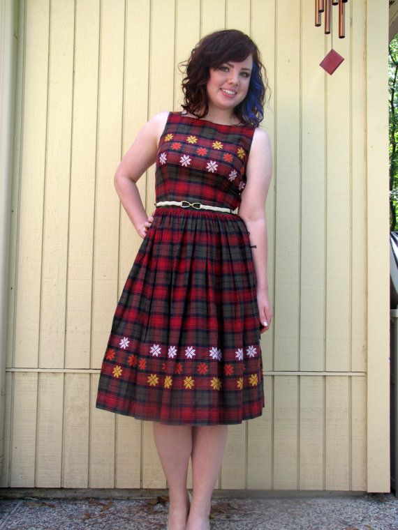 Pretty 50's day dress/Red checkered/ Sleeveless/ Small by hakther, $50.00