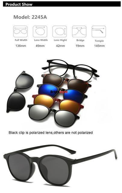 26d505fca19 Brightzone Vintage 5 +1 Set Glasses Women Men Mirror Polarized Sunglasses  Clip-on Make