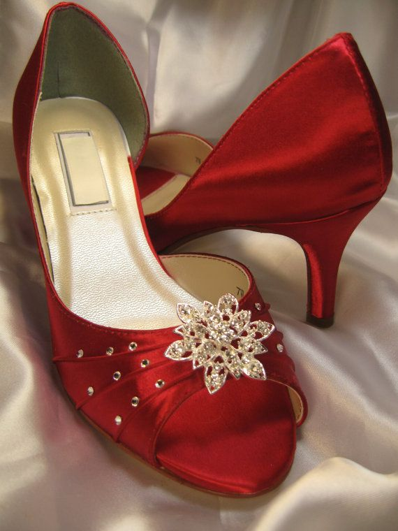 c623ce72ee72 Wedding Shoes Red Bridal Shoes Vintage Style Crystal Flower Brooch Swarovski  Crystals Over 100 Custom Color Choices on Etsy