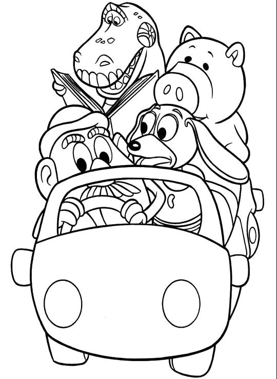 Car Ride Character Toy Story Coloring Pages Toy story