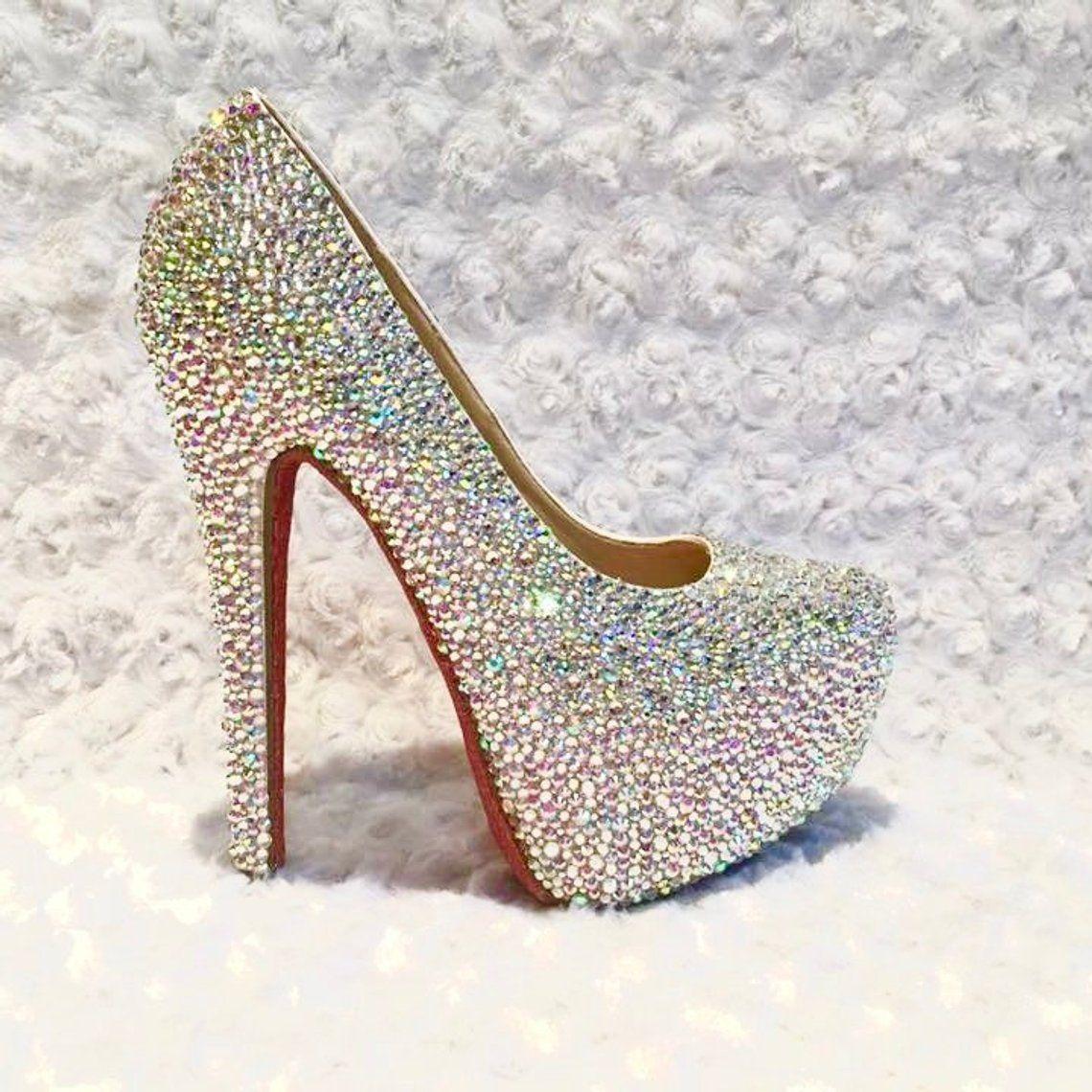 Custom Womens Crystal Wedding Formal Swarovski Crystal Etsy Womens Wedding Shoes Bling Shoes Heels