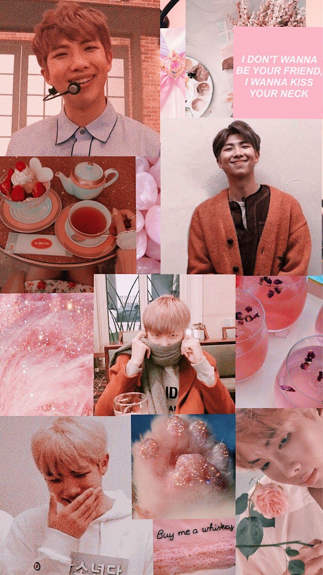 Bts Namjoon Pink Aesthetic Wallpaper Namjoon Pink Bts Pink Aesthetic Bts Pink Aesthetic Wallpaper Wallpaper aesthetic rm bts
