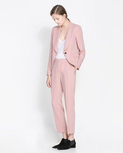 Pastel pink trouser suit from Zara | Pink | Pinterest | Pink ...