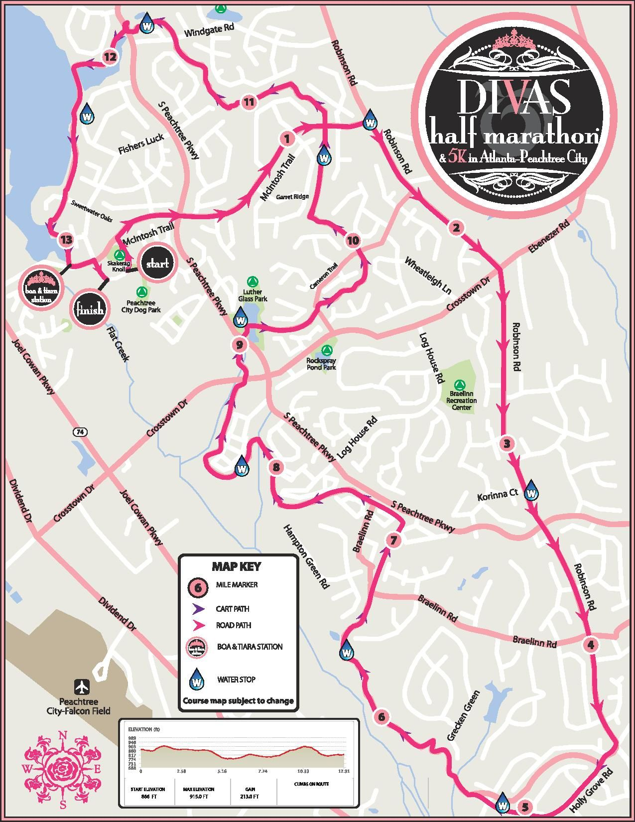 Peachtree Georgia Map.Peachtree City Half Marathon Course Map Fitness Pinterest City