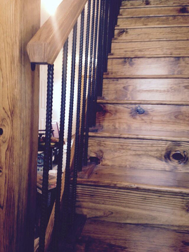 Rebar Painted Black For Railing On Rustic Stair Case The Ranch Pinterest Rustic Stairs Stair Case And Black