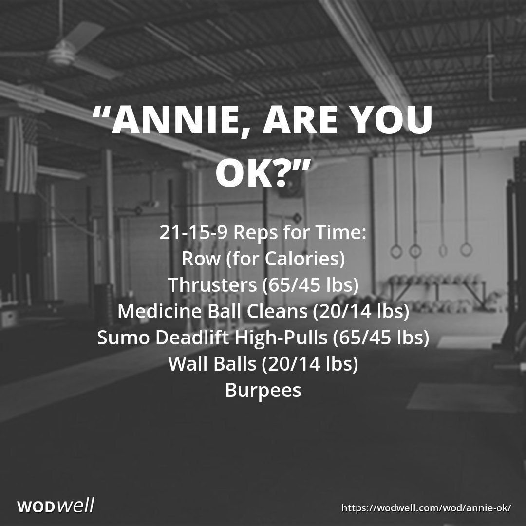 """""""Annie, Are You OK?"""" WOD 21159 Reps for Time Row (for"""