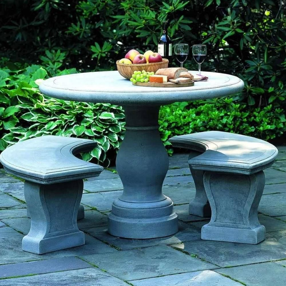 Table With 2 Curved Benches Outdoor